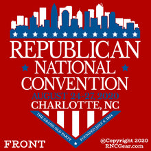 Load image into Gallery viewer, Commemorative 2020 Republican National Convention T-Shirt with city of Charlotte Shield Design (on red)