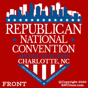 Commemorative 2020 Republican National Convention T-Shirt with city of Charlotte Shield Design (on red)