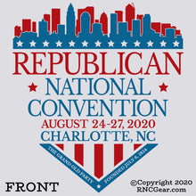Load image into Gallery viewer, Commemorative 2020 Republican National Convention T-Shirt Charlotte Shield (on light gray)