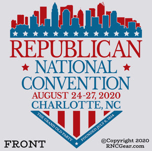 Commemorative 2020 Republican National Convention T-Shirt Charlotte Shield (on light gray)