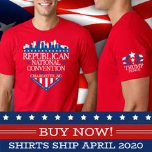 Load image into Gallery viewer, Commemorative 2020 RNC T-Shirt with Charlotte shield design (on red)
