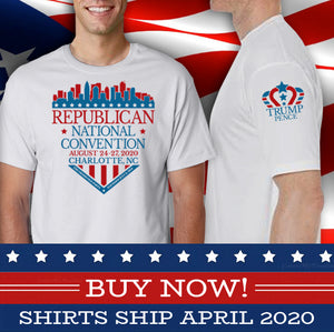 Commemorative 2020 Republican National Convention T-Shirt with Trump-Pence on Sleeve (light gray)