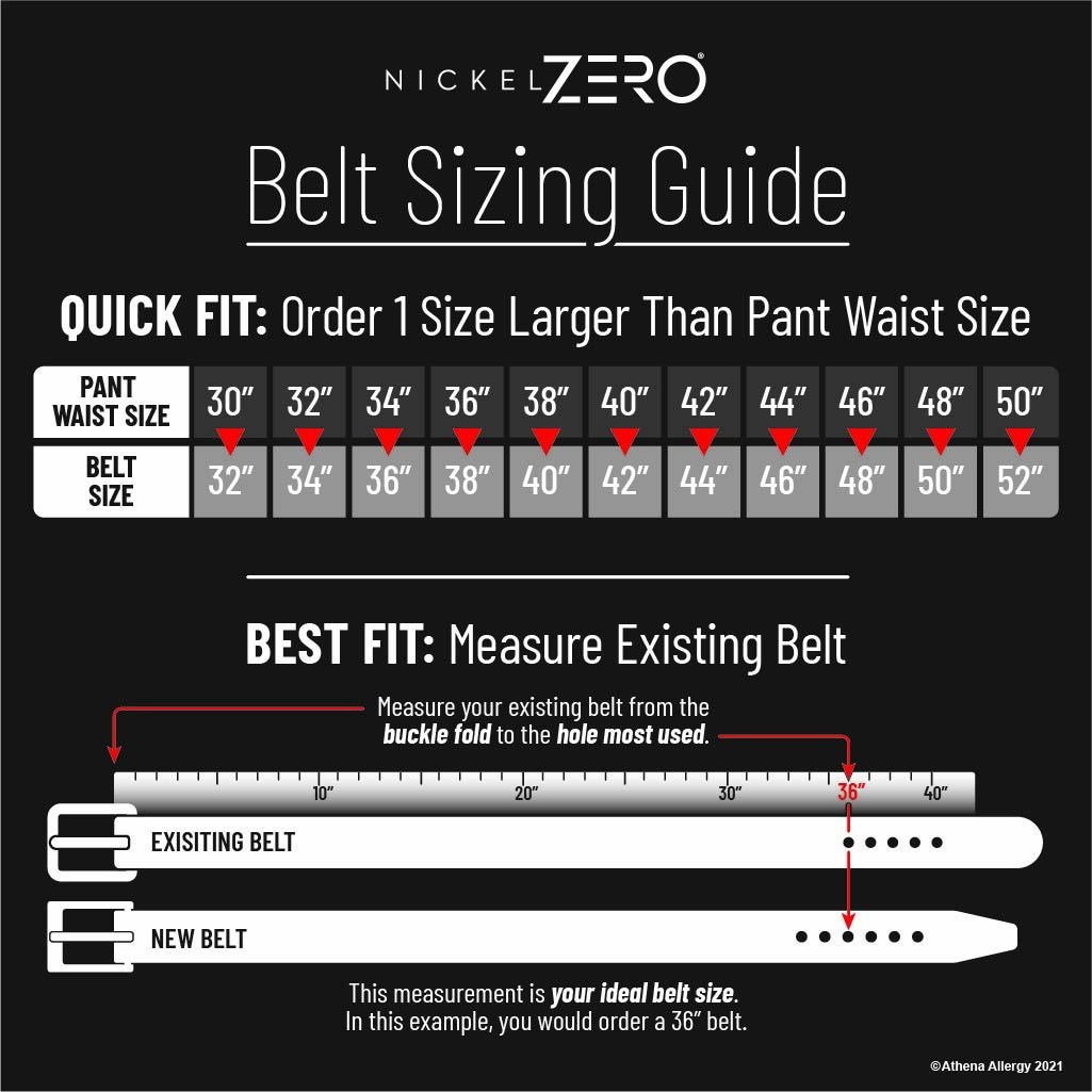 Nickel Free Belt Sizing Guide - If you have any questions, please call us! 704-947-1917