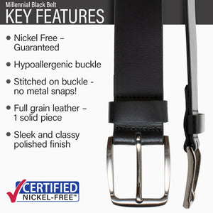 Key features of Millennial Nickel Free Black Leather Belt | Hypoallergenic buckle, stitched on nickel-free buckle, full grain leather, polished finish