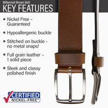 Key features of Millennial Nickel Free Brown Leather Belt | Hypoallergenic buckle, stitched on nickel-free buckle, full grain leather, polished finish