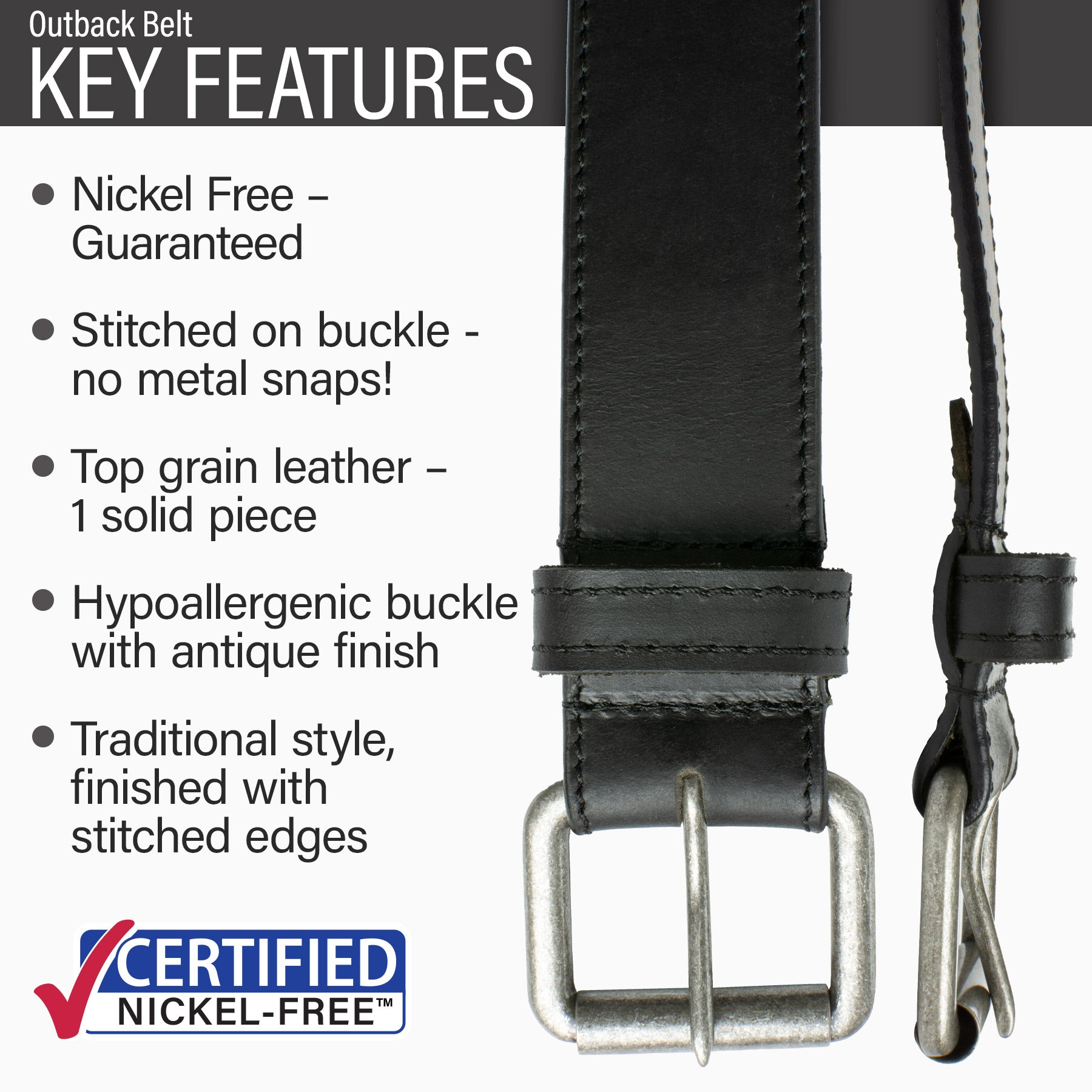 Key features of Outback Nickel Free Black Belt | Hypoallergenic buckle, stitched on buckle, full grain leather, traditional style.