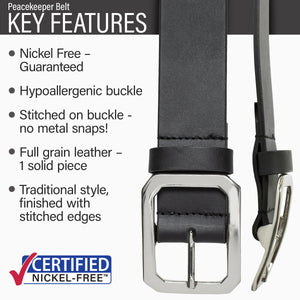 Key features of Peacekeeper Nickel Free Black Leather Belt | Hypoallergenic buckle, stitched on nickel-free buckle, full grain leather, traditional style