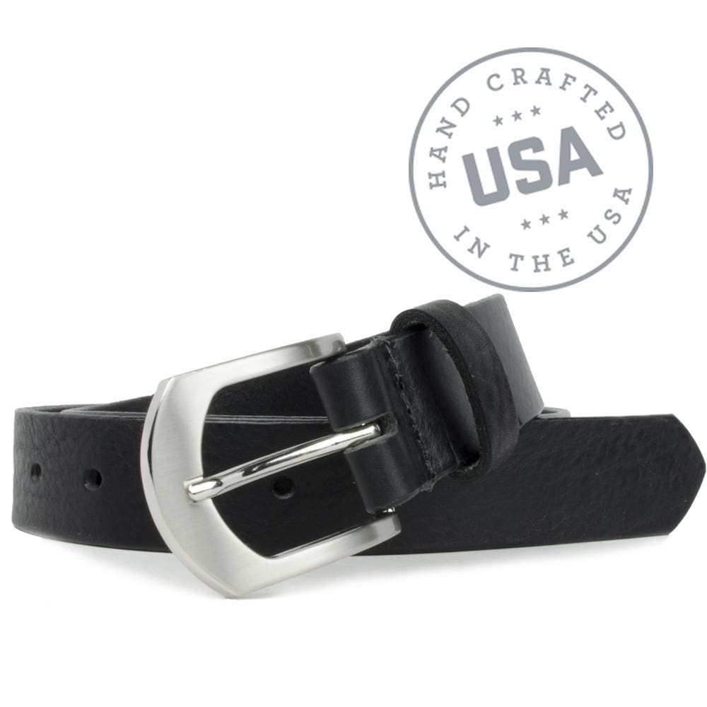 Image of black leather belt with a silver arched buckle. Deep River Black Belt.  Made in USA. Hypoallergenic buckle. Full grain black leather strap.