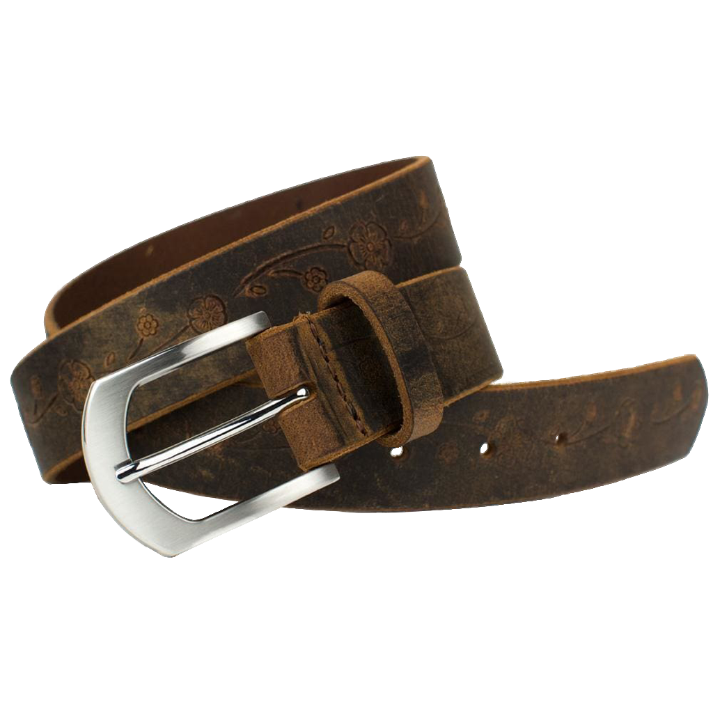 Distressed Rose Belt II Leather Belt by Nickel Smart®