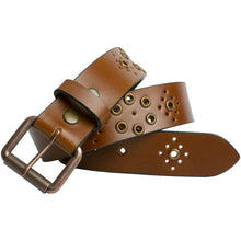 Women's Grommet Brown Leather Belt by Nickel Smart®