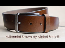 Millennial Belt Set by Nickel Zero - nickelfreebelts.com, Video showing the millennial brown belt with a silver buckle