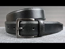 Metro Black Belt by Nickel Zero - nickelfreebelts.com, Video showing a black genuine leather belt with upper and backing stitched for a classier look with a silver buckle, dress belt, classy belt