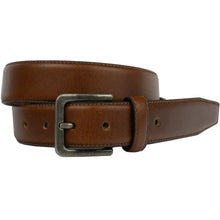 Explorer Tan Belt by Nickel Zero - nickelfreebelts.com, Brown genuine leather belt upper and back stitched together with a silver buckle, no nickel, nickel free, hypoallergenic