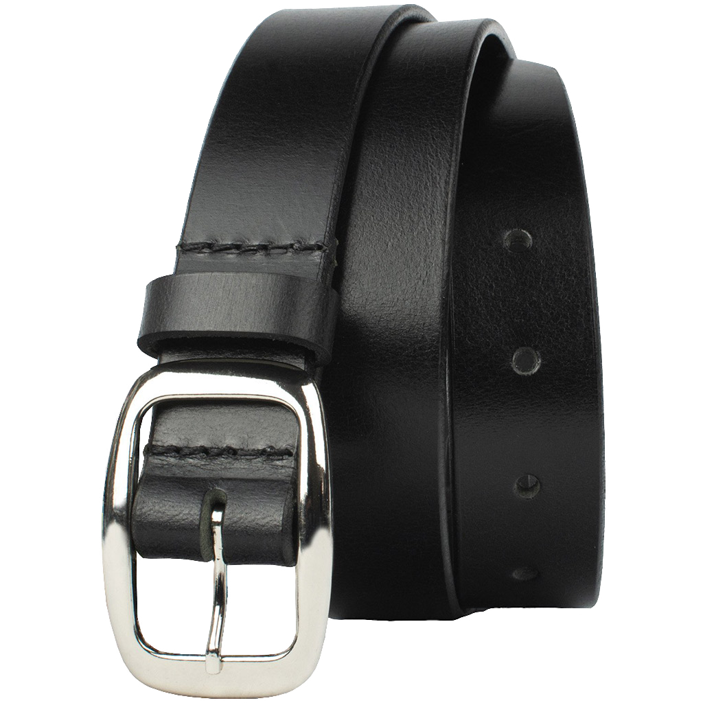 Mariposa Black Belt by Nickel Zero - nickelfreebelts.com, Black genuine leather belt with a silver center bar buckle with rounded edges, no nickel, nickel free, hypoallergenic