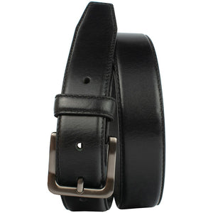Metro Black Belt by Nickel Zero - nickelfreebelts.com, Black genuine leather belt with silver buckle