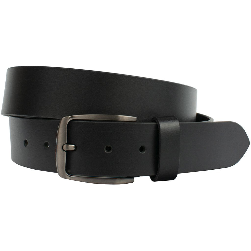 Millennial Black Belt by Nickel Zero - nickelfreebelts.com, Black full grain leather belt with silver buckle, made in the USA