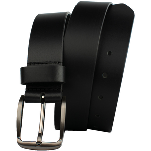 Millennial Black Belt by Nickel Zero - nickelfreebelts.com, genuine leather belt with silver buckle