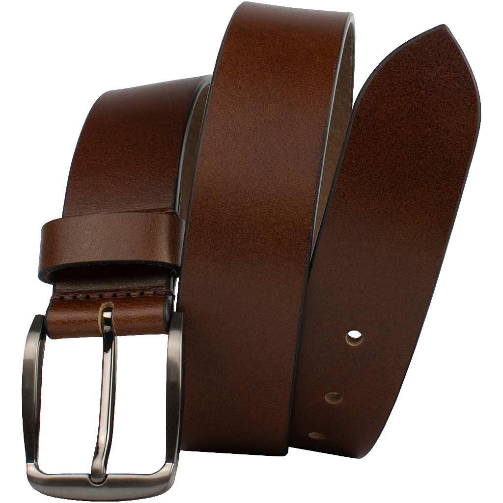 Millennial Brown Belt by Nickel Zero - nickelfreebelts.com, Brown full grain leather belt with silver buckle, made in the USA