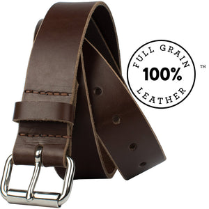 Mojave Heavy Duty Work Belt Nickel Zero - nickelfreebelts.com, Brown full grain leather belt