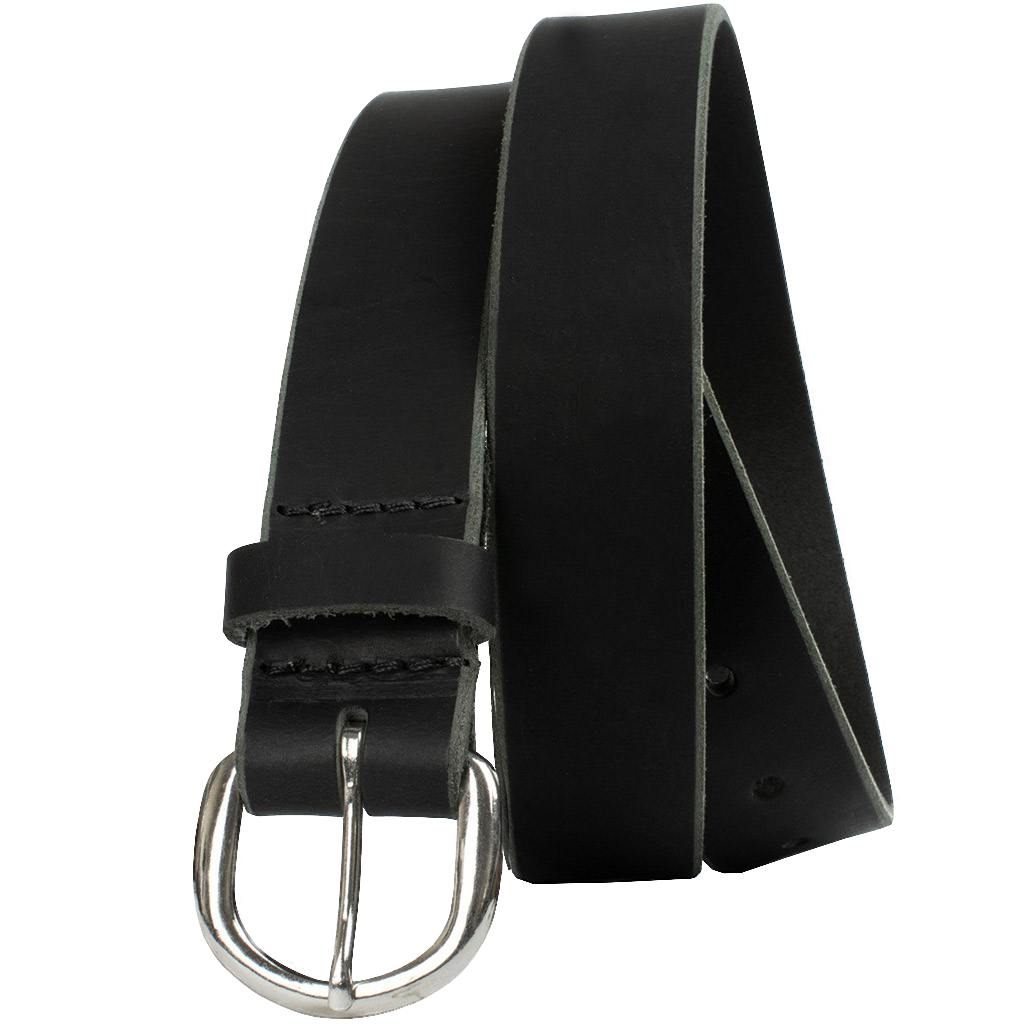 Sequoia Black Belt by Nickel Zero - nickelfreebelts.com, Black genuine leather belt with a silver buckle, work belt, casual belt