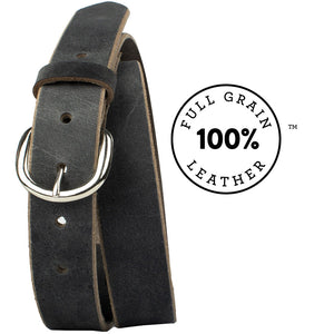 Yosemite Distressed Gray Belt by Nickel Zero - nickelfreebelts.com, distressed gray full grain leather belt with a silver buckle