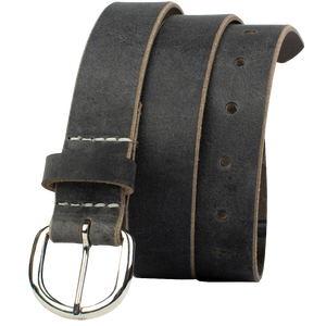 Yosemite Distressed Gray Belt by Nickel Zero - nickelfreebelts.com, Gray distressed genuine leather belt with silver buckle, casual belt, work belt