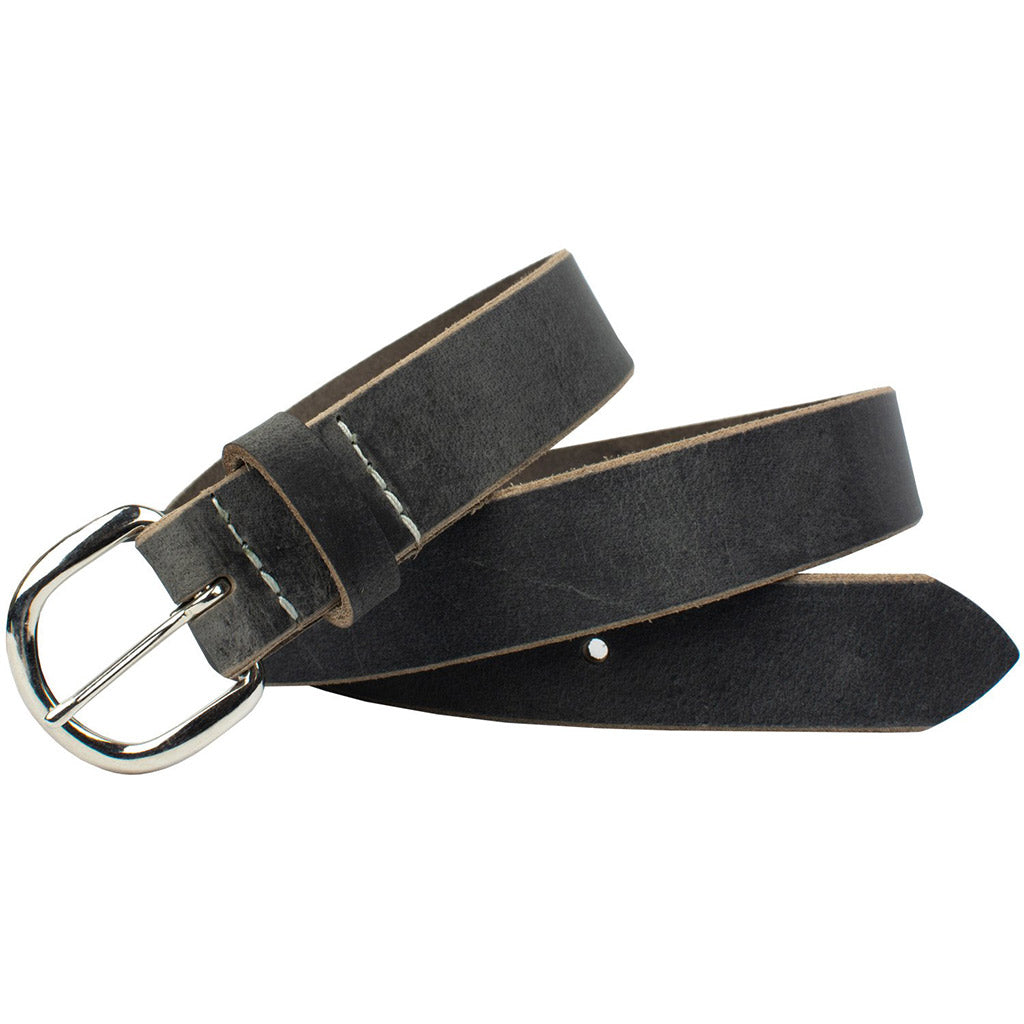 Yosemite Distressed Gray Belt by Nickel Zero, Exclusive, Nickel Zero guarantee. Handmade in the USA of solid full grain leather
