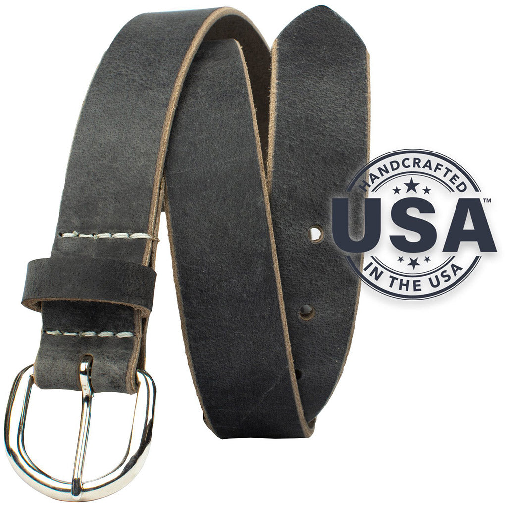 Yosemite Distressed Gray Belt by Nickel Zero - nickelfreebelts.com, made in the USA