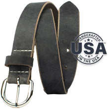 Yosemite Distressed Gray Belt by Nickel Zero - nickelfreebelts.com, distressed gray genuine leather belt with a silver buckle, made in the USA