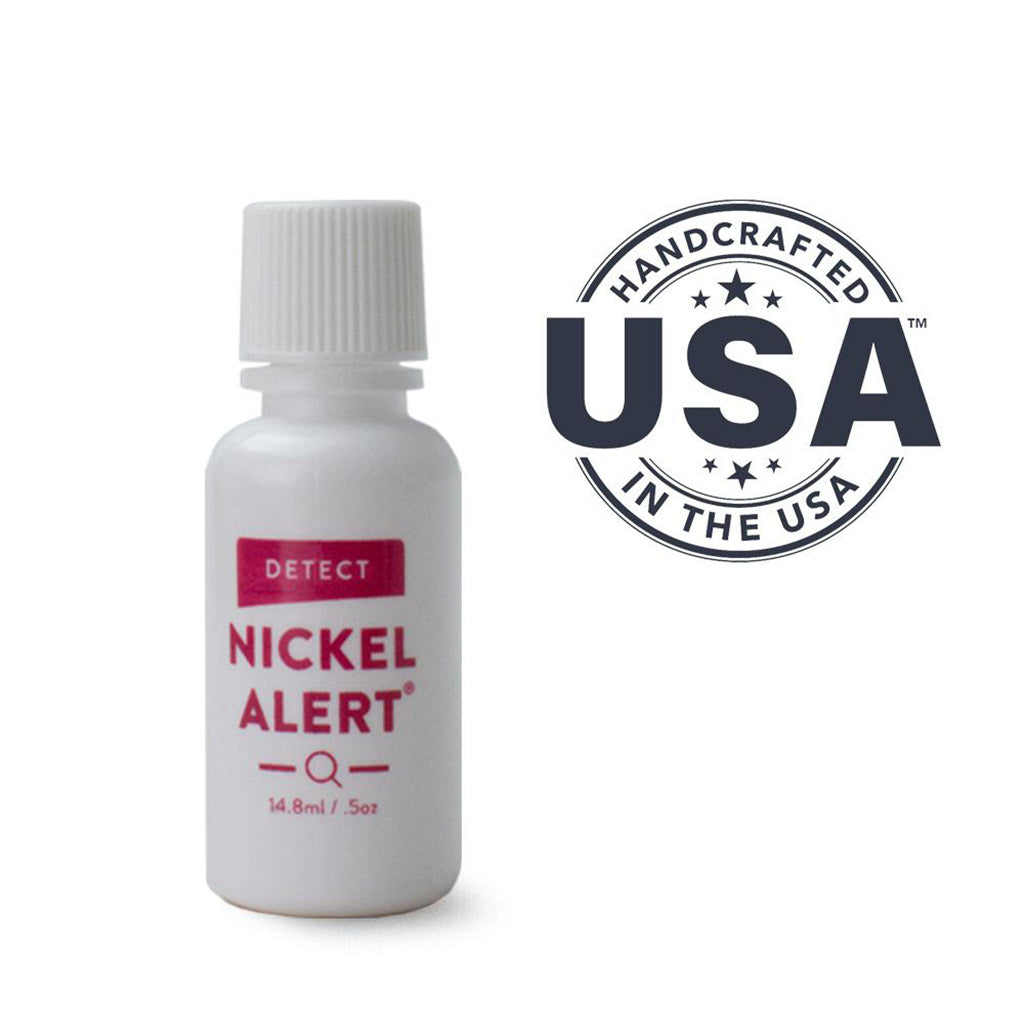 Nickel alert, spot test solution, detect nickel, nickel rash, made in USA