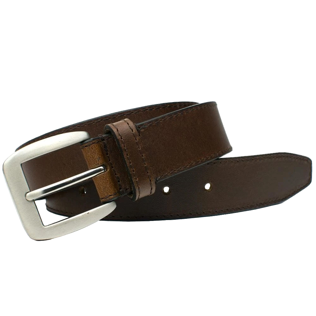 Casual Brown Belt II (Blemished) by Nickel Smart - nickelfreebelts.com, Brown belt with black sidings, 1.35 inches width with a silver buckle, blemished, nickel free, no nickel, hypoallergenic