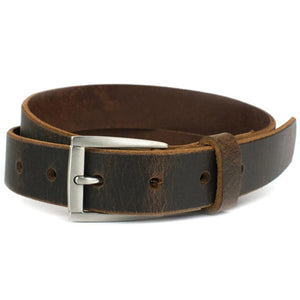 Child's Roan Mountain Distressed Brown Belt by Nickel Smart - nickelfreebelts.com, Child's brown belt with silver buckle, custom made in the USA, genuine leather