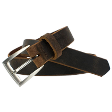Child's Roan Mountain Distressed Brown Belt by Nickel Smart - nickelfreebelts.com, Child's Brown distressed leather belt with silver buckle, nickel free, no nickel, hypoallergenic