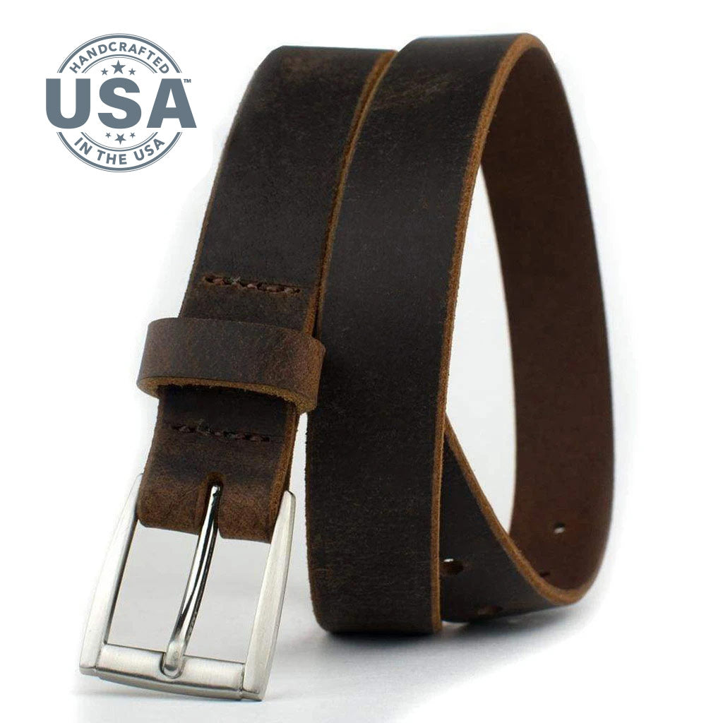 Child's Roan Mountain Distressed Brown Belt by Nickel Smart - nickelfreebelts.com, Child's brown leather belt with silver buckle, child's dress belt, child's casual belt