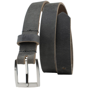 Child's Smoky Mountain Distressed Leather Belt (Gray) by Nickel Smart, Nickel Free Belt, made in USA, Genuine full grain leather