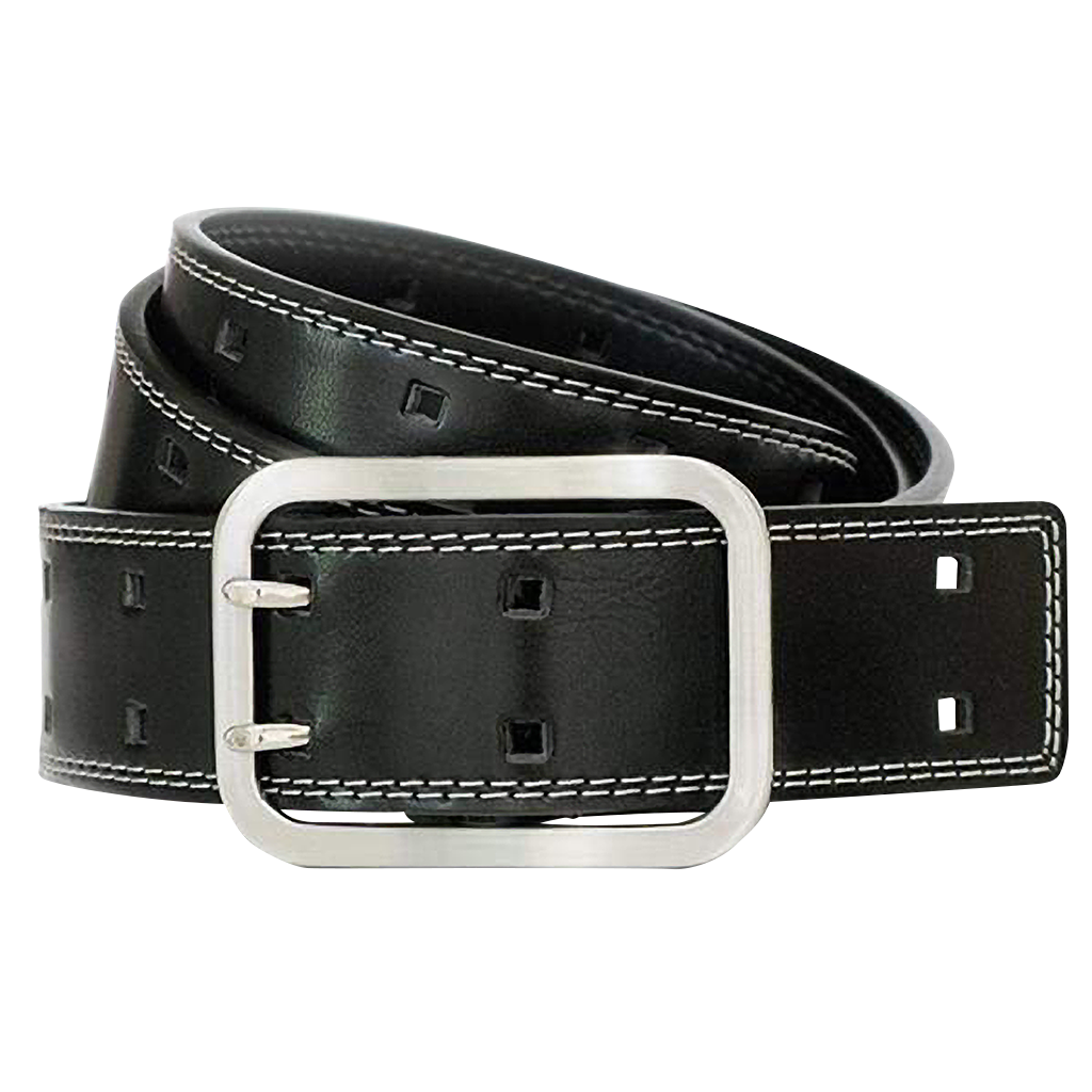 Double Pin Square Belt by Nickel Smart - nickelfreebelts.com, Black belt with double stitched white edges with a center bar buckle, nickel free, no nickel, hypoallergenic, Guaranteed Nickel free