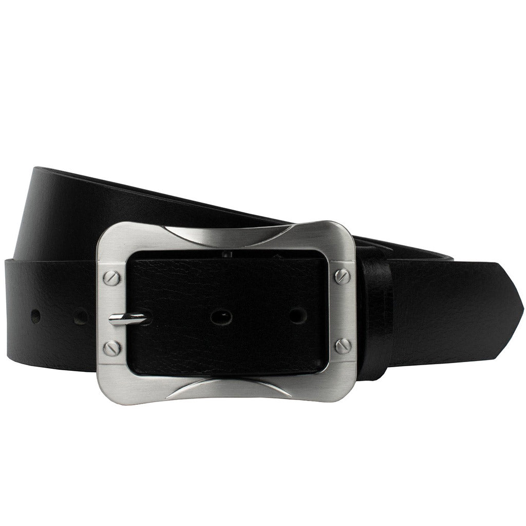 The Journeyman Belt by Nickel Smart - nickelfreebelts.com, Black genuine leather belt with a  silver 2.75 x 3.75 inches center bar buckle
