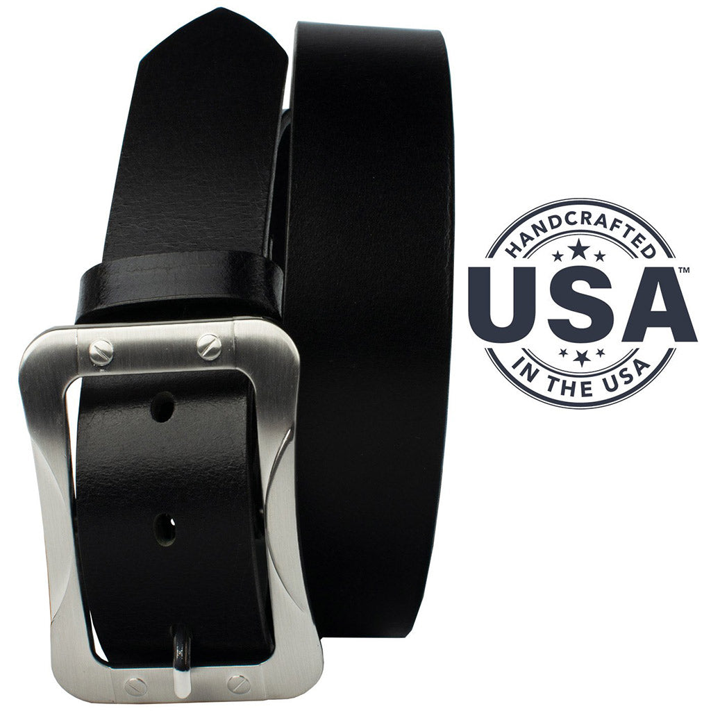 The Journeyman Belt by Nickel Smart - nickelfreebelts.com, Black genuine leather belt with a silver center bar buckle, hand made in the USA