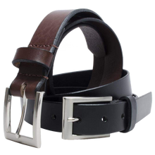 Silver Square Belt Set by Nickel Smart - nickelfreebelts.com, Brown and Black leather with buckles