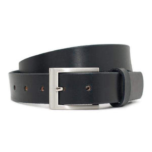 Silver Square Black Belt by Nickel Smart - nickelfreebelts.com, Black genuine leather belt with a silver square buckle, no nickel, nickel free, hypoallergenic