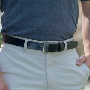 Silver Square Black Belt by Nickel Smart - nickelfreebelts.com, man wearing a black genuine leather belt with silver square buckle