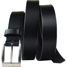Silver Square Black Belt by Nickel Smart - nickelfreebelts.com, Black belt made from genuine leather with a silver square buckle, dress belt, work belt