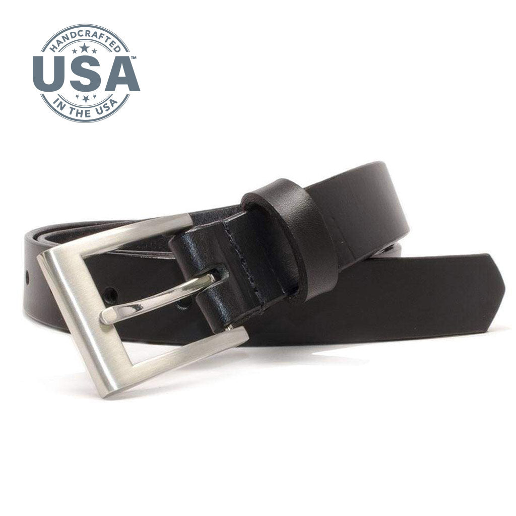 Silver Square Black Belt by Nickel Smart - nickelfreebelts.com, Black full grain leather belt with silver square buckle, made in the USA