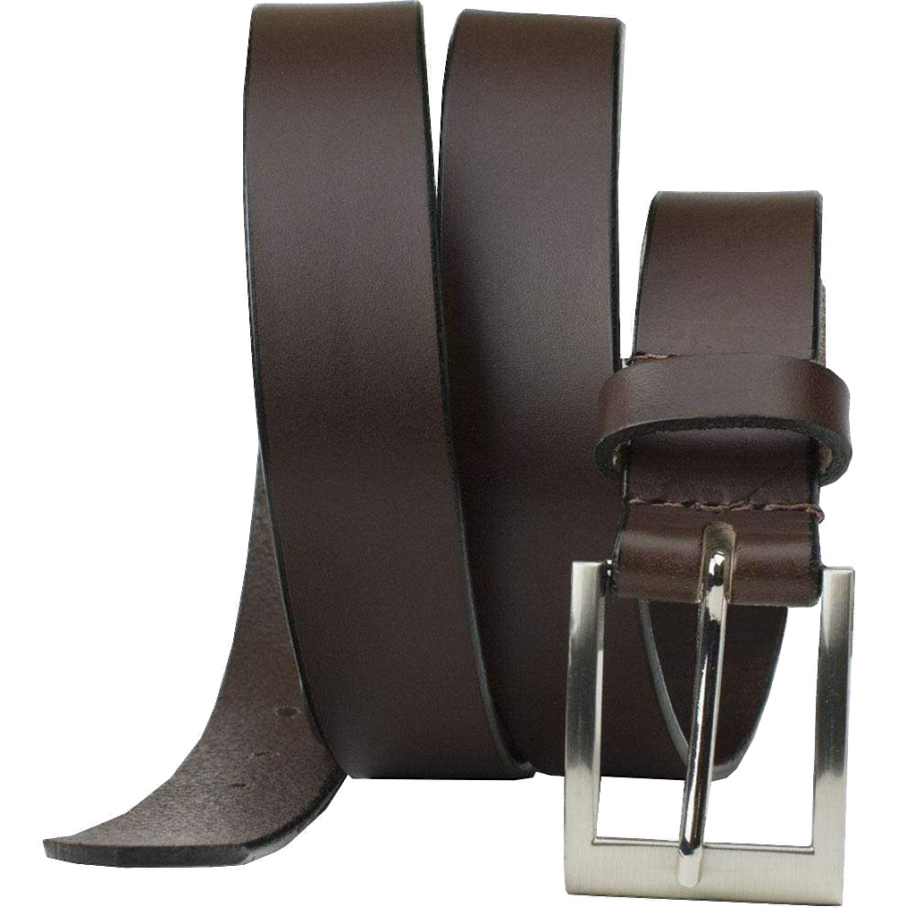 Silver Square Brown Belt by Nickel Smart - nickelfreebelts.com, work belt, dress belt