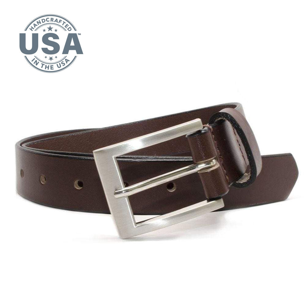 Silver Square Brown Belt by Nickel Smart, Guaranteed Nickel free