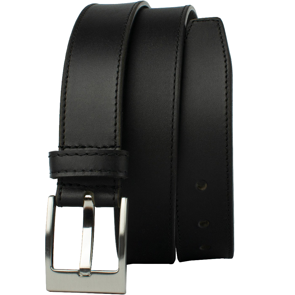 Square Wide Pin Black Belt by Nickel Smart - nickelfreebelts.com, Black genuine leather belt with a silver buckle, work belt, dress belt, casual belt