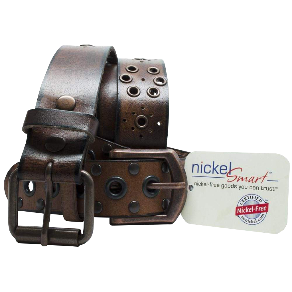 Women's Fun Favorites Brown Leather Belt Set by Nickel Smart - nickelfreebelts.com, Two brown leather belts with brown buckles, no nickel, nickel free, hypoallergenic