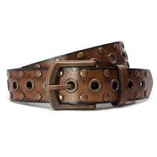 Women's Studded Brown Leather Belt by Nickel Smart - nickelfreebelts.com, casual belt