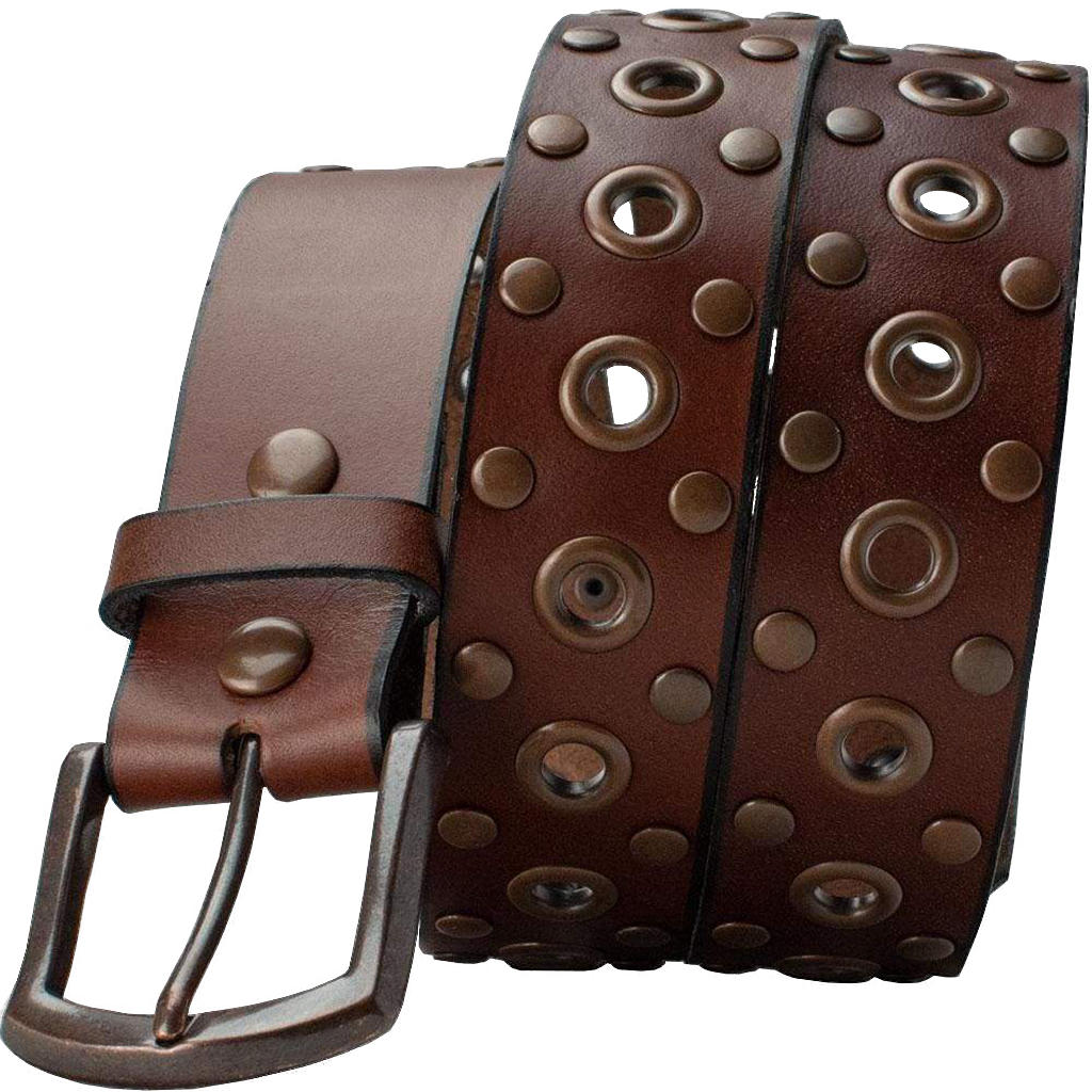 Women's Studded Brown Leather Belt by Nickel Smart, Guaranteed Nickel free