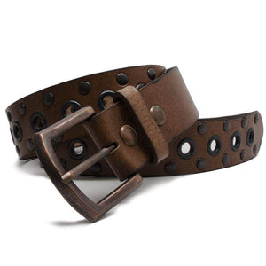 Women's Studded Brown Leather Belt by Nickel Smart - nickelfreebelts.com, made in the USA